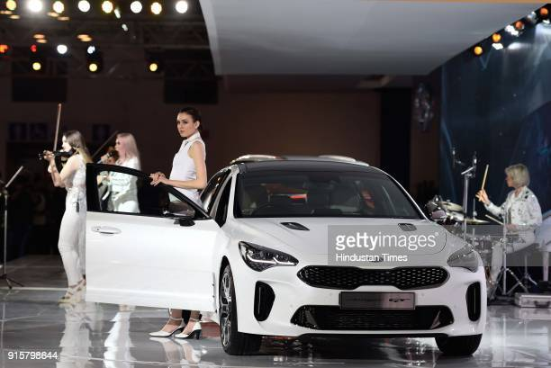 A group performs at KIA pavilion during Auto Expo Motor Show 2018 on February 8 in Greater Noida India