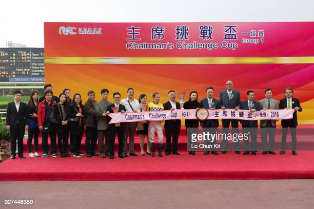 Group photo after the prize presentation ceremony of the Chairman's Challenge Cup at Taipa Racecourse on March 4 2018 in Macau Macau