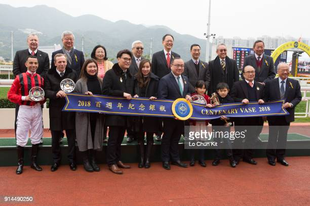 Group photo at the presentation ceremony for the Centenary Vase at Sha Tin racecourse on February 4 2018 in Hong Kong Hong Kong