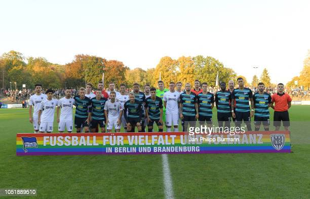 Group photo before the game between Hertha BSC and the SV Babelsberg 03 at the KarlLiebknechtStadion on october 11 2018 in Berlin Germany