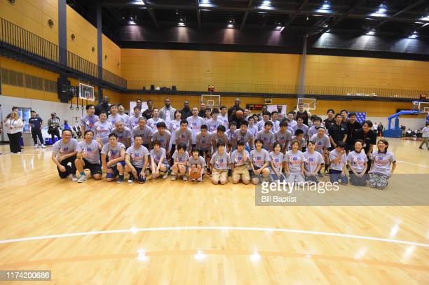 A group photo during the NBA Cares Special Olympics Unified Clinic part of the 2019 NBA Japan Games at a training facility on October 7 2019 in Tokyo...