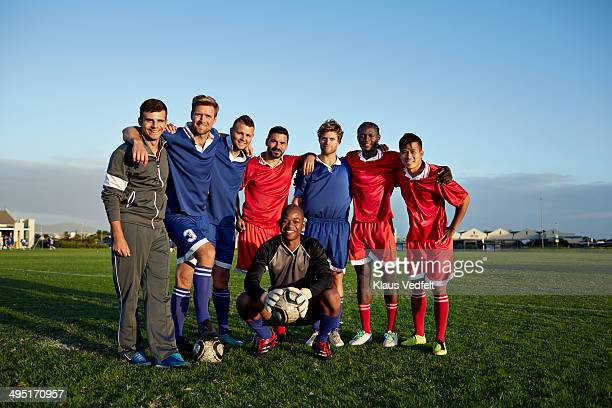 group photo of amateur soccer team - football team stock pictures, royalty-free photos & images