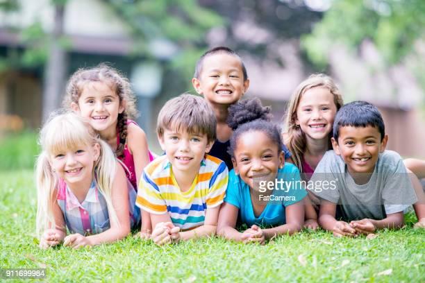 Groepsfoto van kinderen