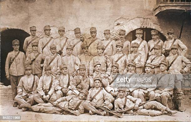 Group photo of conscripts born in 1898 belonging to the 41st Infantry of Savona taken during a march from Savona to Albissola The infantry consisted...