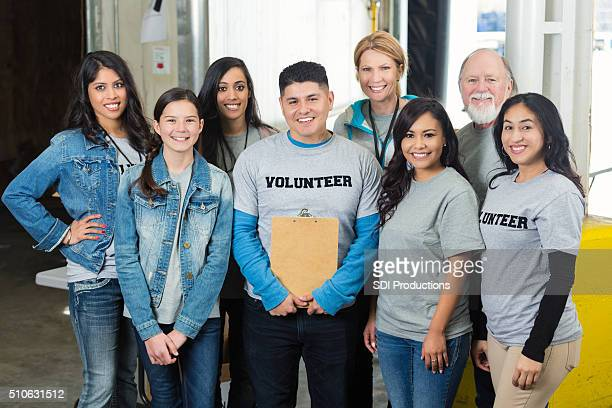 Group photo of diverse food bank volunteers
