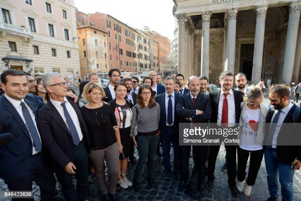 Group photo of Members and Senators of Moviment Five Stars during the demonstration in Pantheon Square to solicit approval of a whistleblower law...