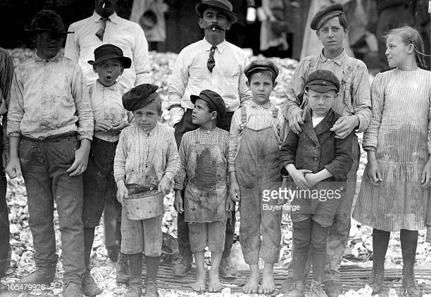Group photo of some of the youngest shrimp pickers at the Dunbar Lopez Dukate Company of Biloxi MS 1911 The youngest in photo are five and eight...