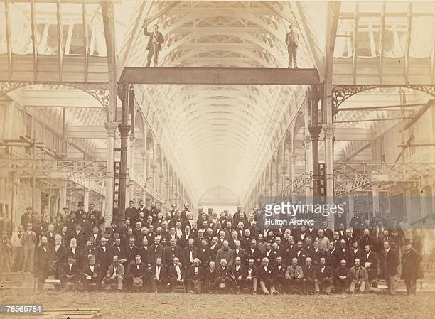 A group photo of some of those responsible for building the Crystal Palace for the Great Exhibition of 1851 in Hyde Park London The two men on the...