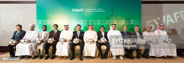 Group photo of South West Asian Football Federation Karma Tsering Sherpa President of All Nepal Football Association Ahmed Alrashdi Board Member of...