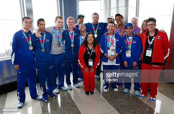Group photo of Special Olympics New York athletes with Head Coach Teresa Gilli and Robin Roberts of ABC's Good Morning America as The Empire State...
