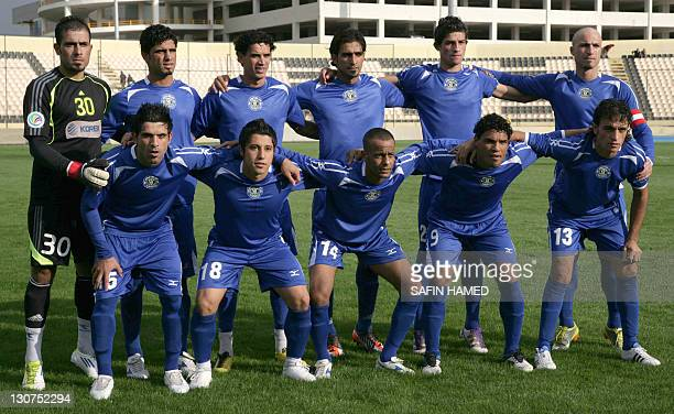 A group photo of the AlTalaba Club team prior to their match against Arbil's Club at the opening match of the Iraqi League football at the Francois...