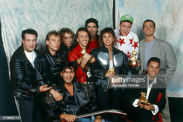 'Group photo of the awardwinning musicians of ''Vota la voce'' 1988 from the left the members of the Steve Rogers Band ''best band'' and Gianna...