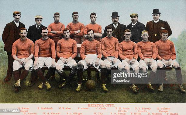 A group photo of the Bristol City FC with captain Harry Clay circa 1910