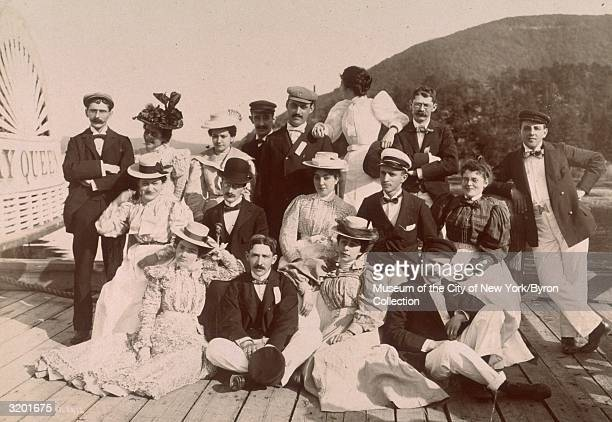 Group photo of the employees of M. Witmark and Sons music publishing company, on an excursion aboard the American steamship, the Bay Queen, traveling...