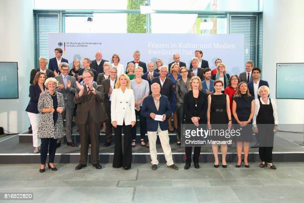 Group photo of the members of the round table 'Women In Culture And Media' including Monika Gruetters, Maria Furtwaengler, Volker Schloendorff, and...