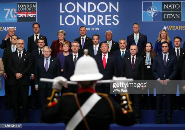 Group photo of the NATO leaders including Prime Minister of Albania Edi Rama President of France Emmanuel Macron British Prime Minister Boris Johnson...