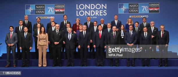 Group photo of the NATO leaders including Prime Minister of Canada Justin Trudeau, Prime Minister of Belgium Sophie Wilmes, Prime Minister of Albania...