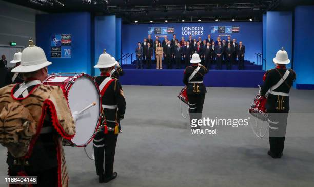 Group photo of the NATO leaders including Prime Minister of Canada Justin Trudeau Prime Minister of Belgium Sophie Wilmes Prime Minister of Albania...