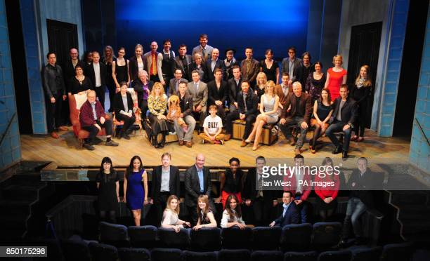Group photo of the nominees for the Olivier Awards 2013 with MasterCard gather on stage today at the Theatre Royal Haymarket Back row stage standing...
