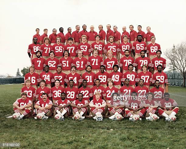 Group photo of the San Francisco 49ers' that will represent the NFC in the Super Bowl XVI here 1/24 First row l to r Jack Reynolds Ray Wersching Amos...