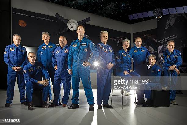 Group photo of the ten French astronauts who participated in the conquest of the space, in the foreground the youngest Thomas Pesquet 37 years. From...