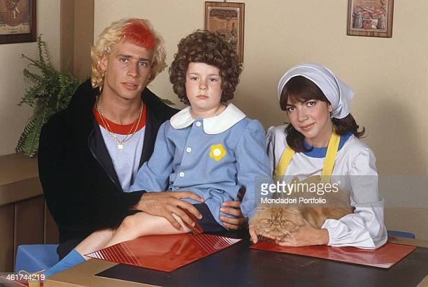 A group photo of the young actors engaged in the TV series Love Me Licia based on a japanese anime including Pasquale Finicelli on the left with the...