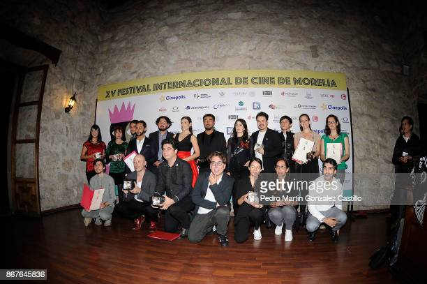 A group photo of winners during the closing ceremony of the XV Morelia International Film Festival at Teatro Ocampo on October 28 2017 in Morelia...