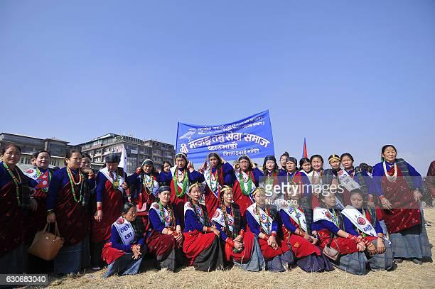 A Group Photo Shot of Nepalese Gurung woman wearing traditional attire during the celebration of Tamu Lhosar or Losar at Kathmandu Nepal on Friday...