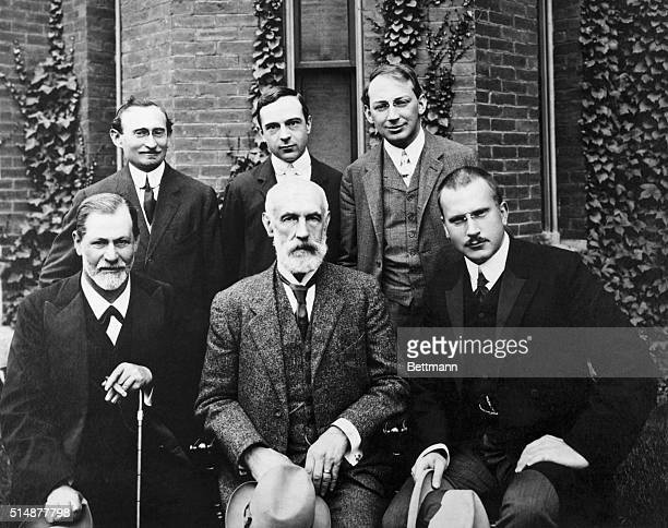 Group photograph of AA Brill Ernest Jones Sandor Ferenczi Sigmund Freud G Stanley Hall Carl G Jung at Clark University Worcester MA in 1908