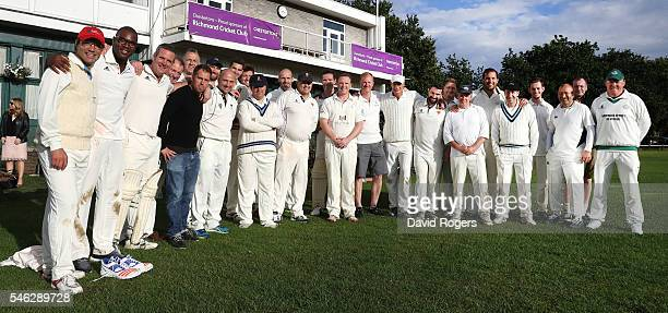 A group photograph of both sides as they gather after the Rugby Writers' cricket match against the RFU held at Old Deer Park on July 11 2016 in...