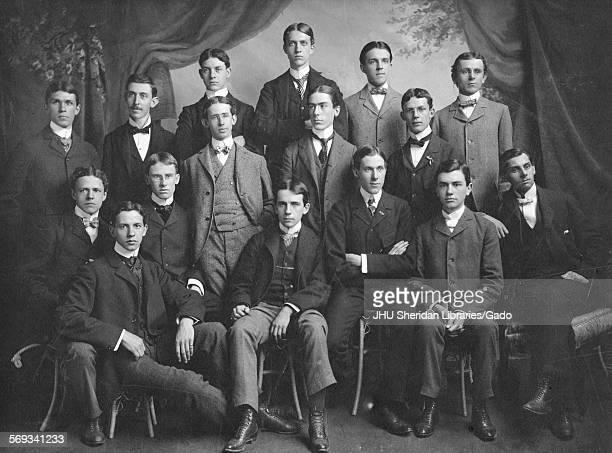 Group photograph of Fraternities Beta Theta Pi members Johns Hopkins University Baltimore Maryland 1898 Mitchell Samuel Alfred Brough Charles Hillman...
