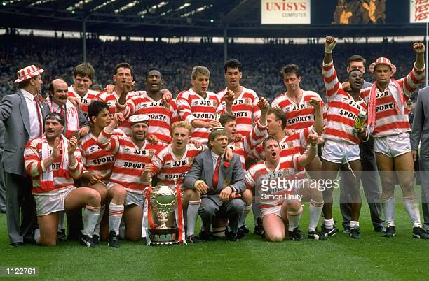 A group photograph of the Wigan team after the Silk Cut Challenge Cup final against Halifax at Wembley Stadium in London Wigan won the match 3212...