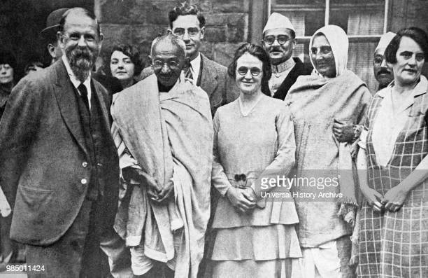 Group photograph taken at Marseilles in France 1931 C F Andrews Gandhi Miss Muriel Lester Mahadev Desai Madeleine Slade Pyarelal and an English...