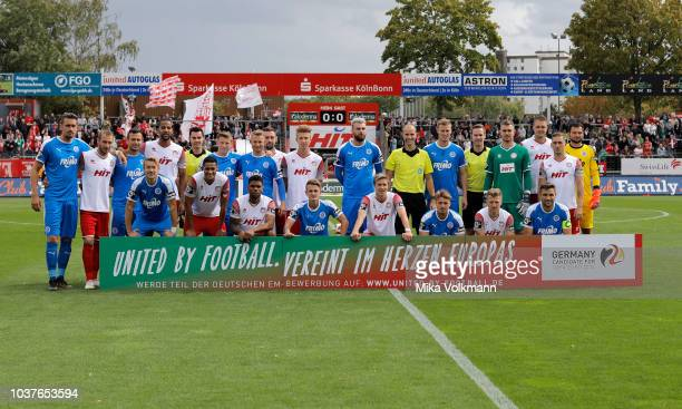 Group photos of both teams for UEFA Euro 2024 united by Football prior the 3 Liga match between SC Fortuna Koeln and VfL Sportfreunde Lotte at...