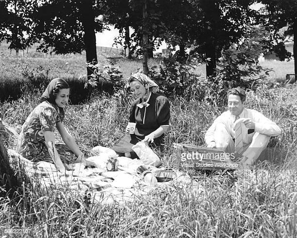 Group picnics in the grass, Monticello, New York, early to mid 20th century.