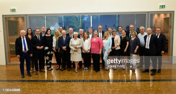 A group picture during the oath ceremony at a plenary session of the German community parliament in Eupen Monday 17 June 2019 BELGA PHOTO JOHN THYS