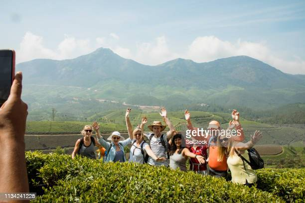 group picture next to keralan tea plantations - tourism stock pictures, royalty-free photos & images