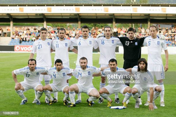 Group Picture of Greece's national team before a friendly football game against North Korea in Altach on May 25, 2010 ahead of their participation to...