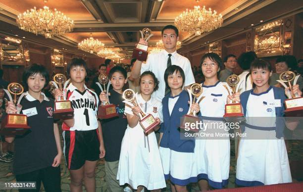 Group picture of Outstanding School Athlete Awards winners Yim Hoiyan 12yrsold Woo Wingtung 12yrsold Ma Tau Chung Government Primary School Kelvin...