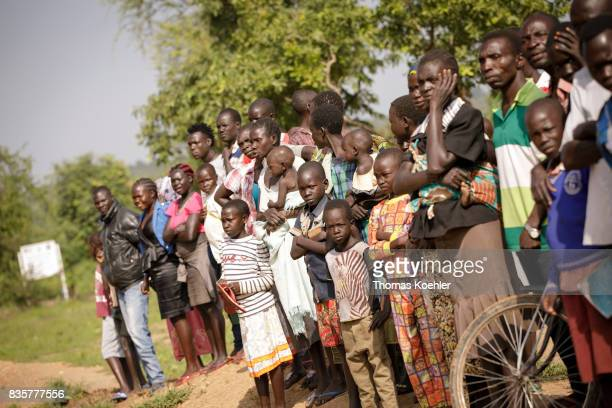 Group picture of refugees at Rhino Refugee Camp Settlement in northern Uganda The area is home to about 90000 refugees from South Sudan on August 09...