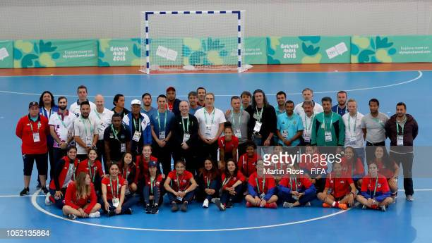 A group picture of the participants during the IF Focus Day of the Buenos Aires Youth Olympics 2018 at Cenard on October 14 2018 in Buenos Aires...