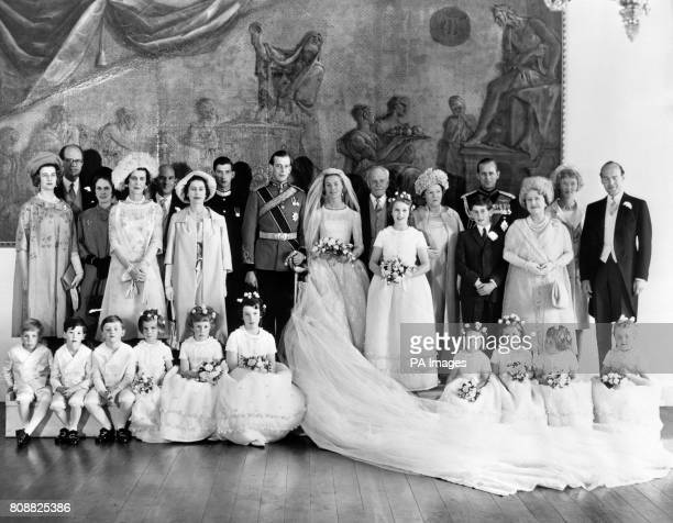 A group picture taken at Hovingham Hall near York after the wedding in York Minster of the Duke of Kent and Miss Katherine Worsley Left to Right...