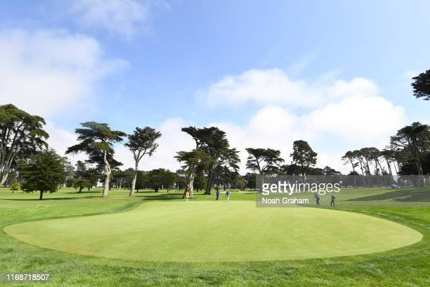 Group plays a hole during the 2019 Stephen Curry Charity Classic presented by Workday at TPC Harding Park on September 16, 2019 in San Francisco,...