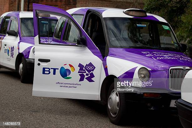BT Group Plc Olympic adverts are seen on London Taxis the advertising space has been sourced and arranged by Posterscope a unit of Aegis Group Plc in...
