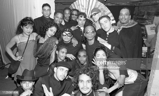 Group portrait at poetry slam on Lower East Side in 1999 in New York City New York Pictured center bottom Hector Xtravaganza dancer icon of the...