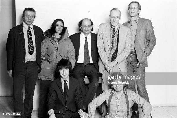 Group portrait at William S Burroughs' Bunker on the Bowery, New York, New York, summer 1980. Pictured are, top from left, Peter Orlovsky , Marisol...
