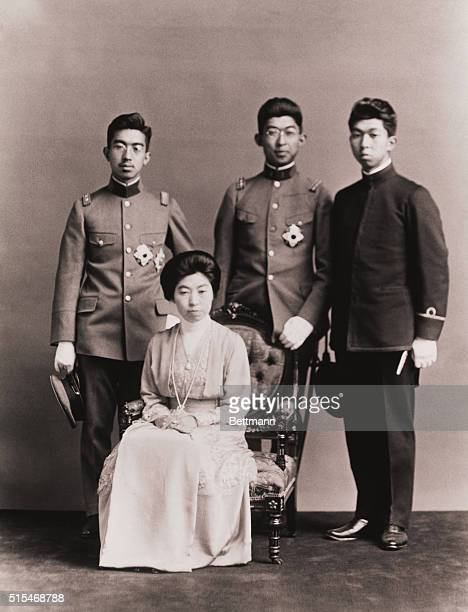 A group portrait ca 1925 of Empress Sadako of Japan with her sons Left to right are Hirohito who reigned as Emperor from 1926 to 1989 Empress Sadako...