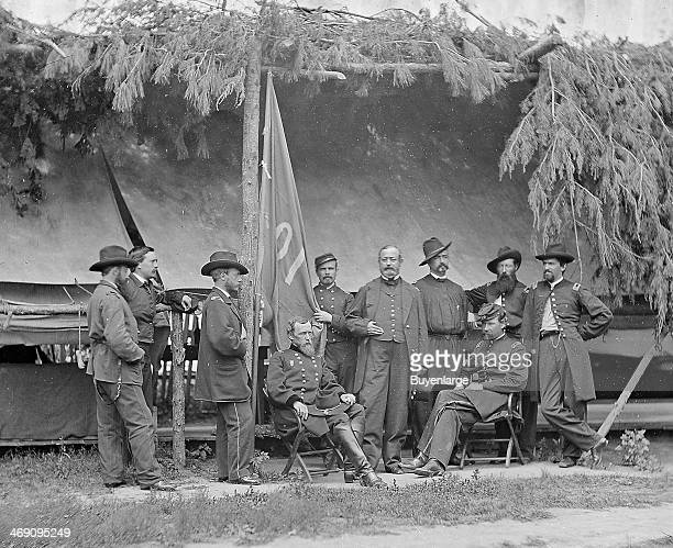 Group portrait features Union Major General David B Birney and his staff 1860s