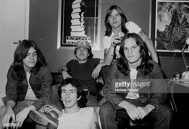 AC/DC group portrait London 8th April 1976 LR Malcolm Young Bon Scott Angus Young Phil Rudd Mark Evans