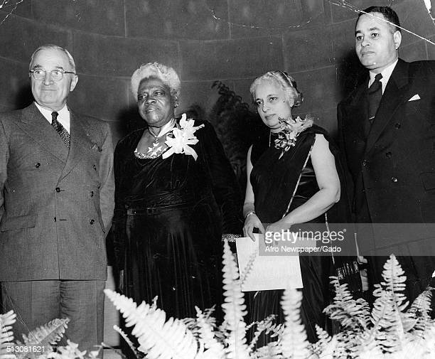 Group portrait of AfricanAmerican educator and Civil Rights activist Mary McLeod Bethune former United States President Harry S Truman...
